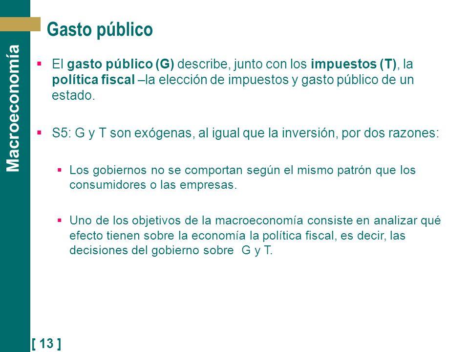 Gasto público El gasto público (G) describe, junto con los impuestos (T), la política fiscal –la elección de impuestos y gasto público de un estado.