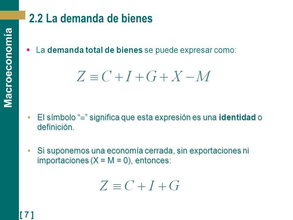 2.2 La demanda de bienes La demanda total de bienes se puede expresar como: