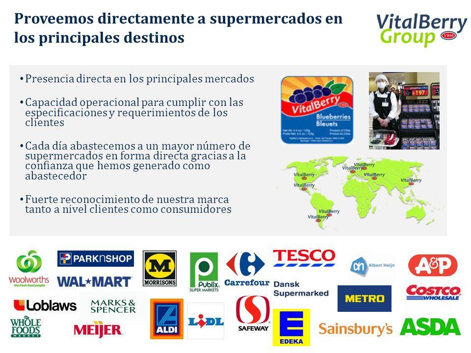 Proveemos directamente a supermercados en los principales destinos