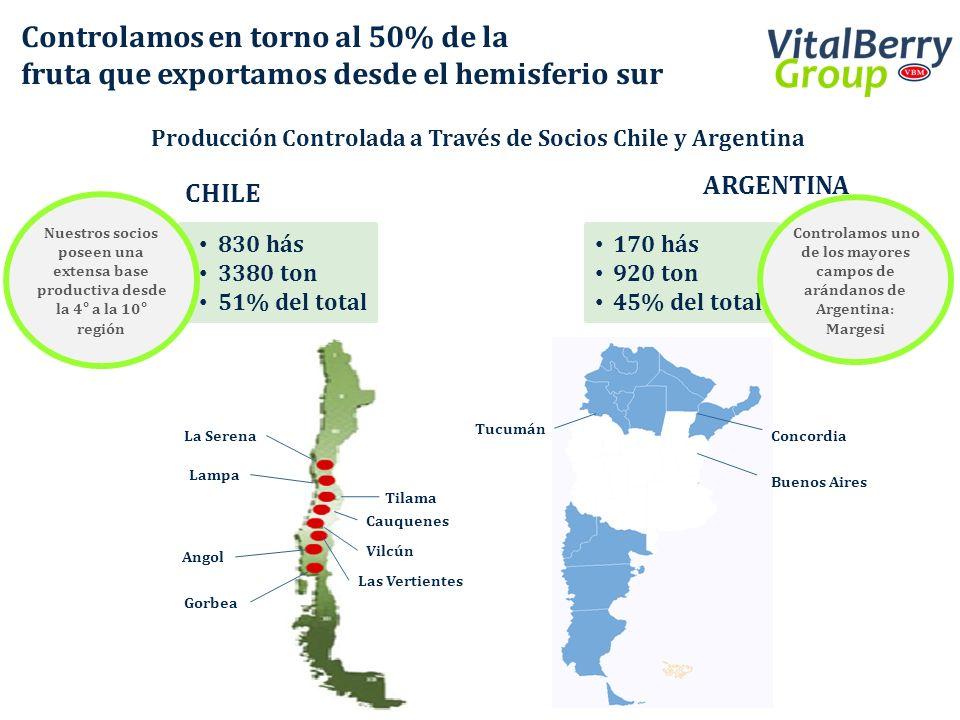 Producción Controlada a Través de Socios Chile y Argentina