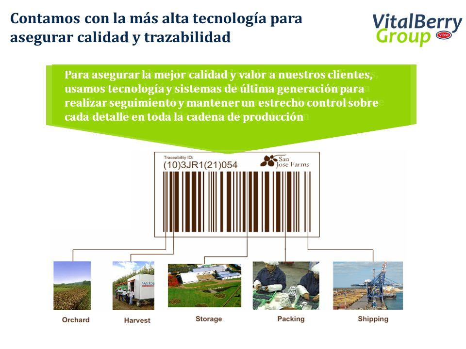Contamos con la más alta tecnología para asegurar calidad y trazabilidad