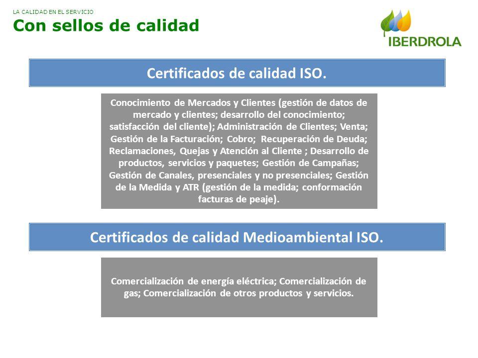 Certificados de calidad ISO.