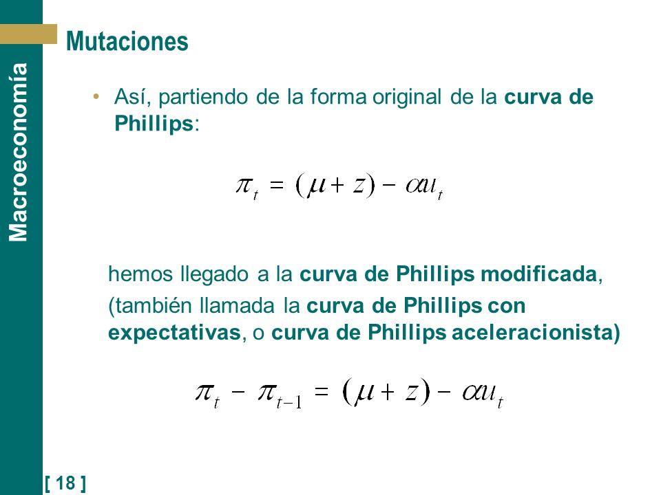 Mutaciones Así, partiendo de la forma original de la curva de Phillips: hemos llegado a la curva de Phillips modificada,
