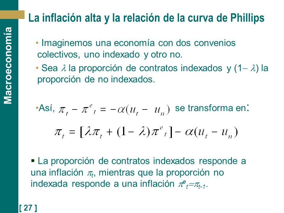La inflación alta y la relación de la curva de Phillips