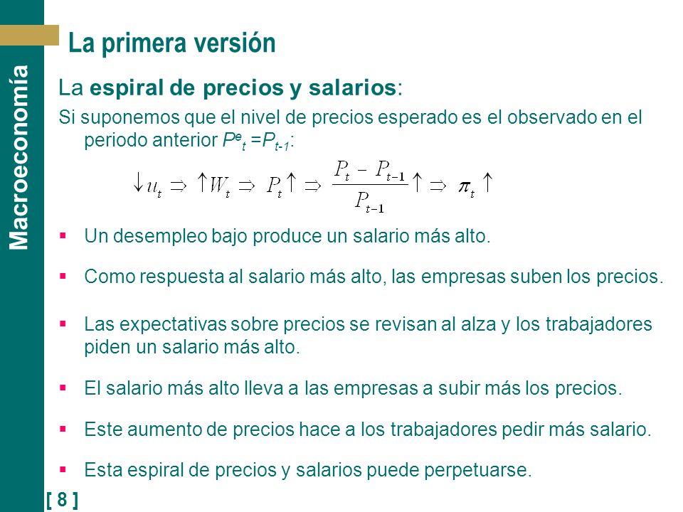 La primera versión La espiral de precios y salarios: