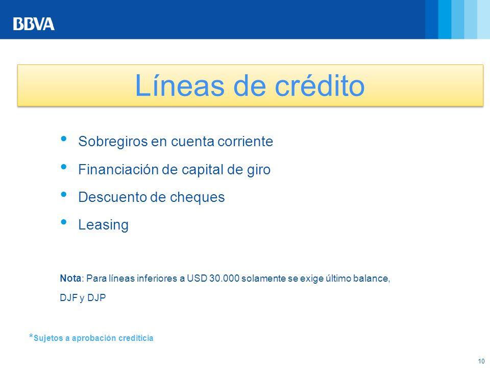 Líneas de crédito Sobregiros en cuenta corriente