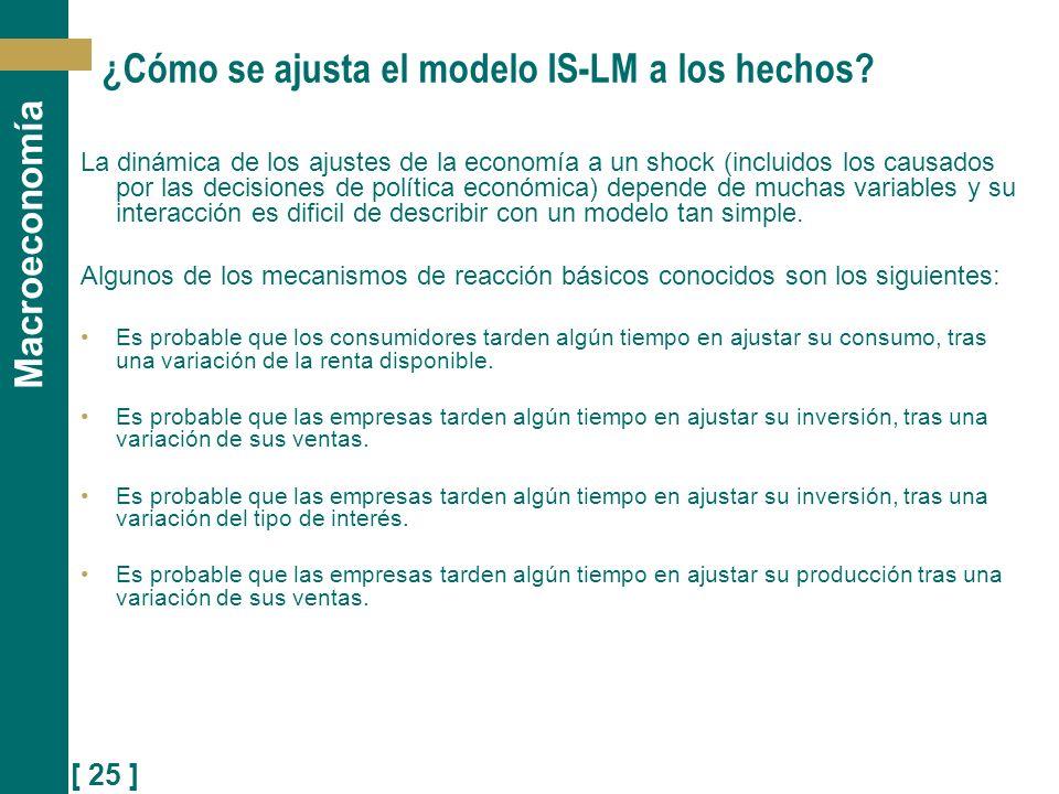 ¿Cómo se ajusta el modelo IS-LM a los hechos