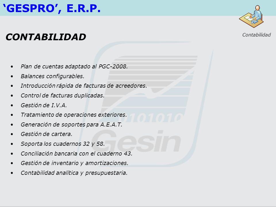 'GESPRO', E.R.P. CONTABILIDAD Plan de cuentas adaptado al PGC-2008.