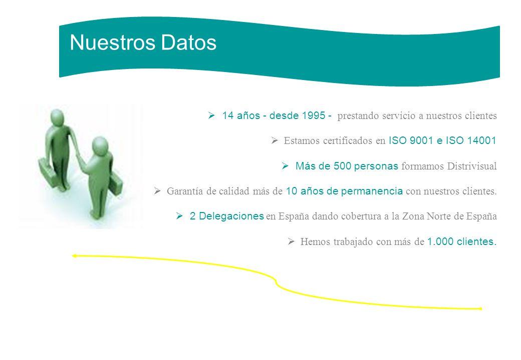 Nuestros Datos 14 años - desde 1995 - prestando servicio a nuestros clientes. Estamos certificados en ISO 9001 e ISO 14001.