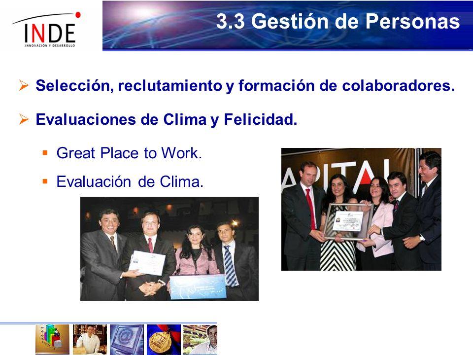 3.3 Gestión de Personas Selección, reclutamiento y formación de colaboradores. Evaluaciones de Clima y Felicidad.