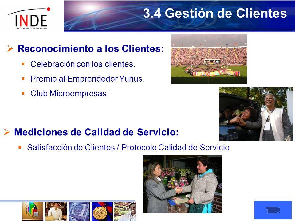 3.4 Gestión de Clientes Reconocimiento a los Clientes: