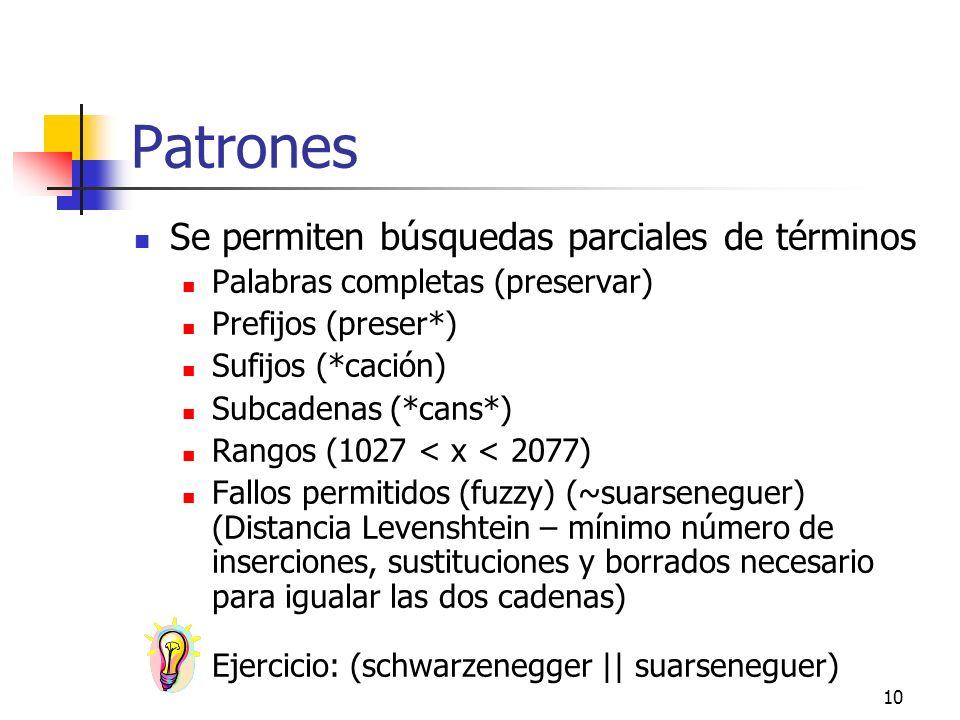 Patrones Se permiten búsquedas parciales de términos