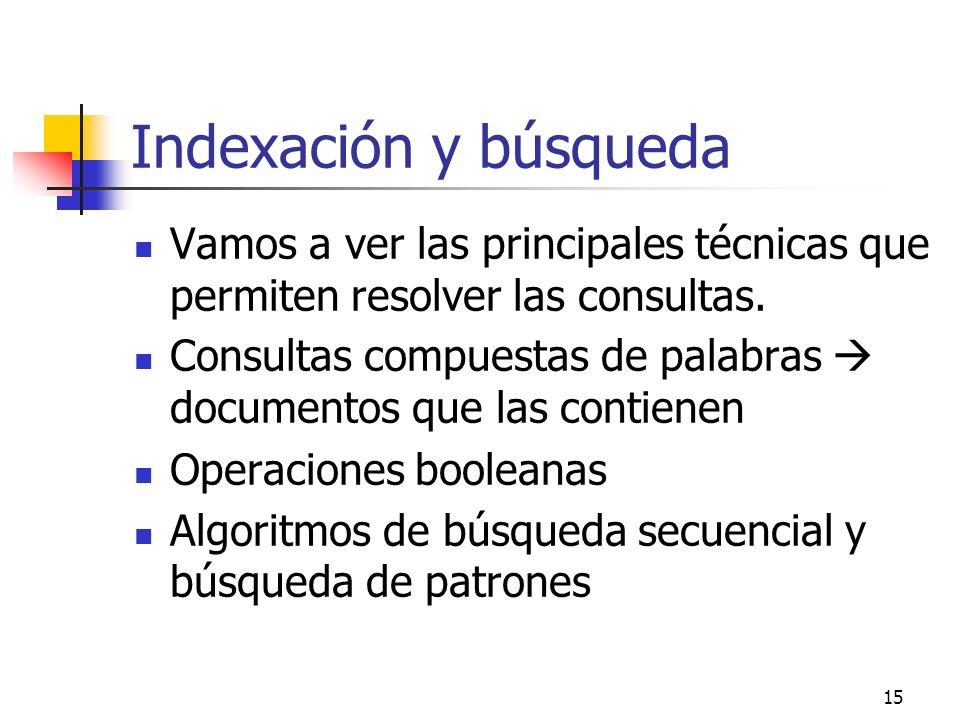 Indexación y búsqueda Vamos a ver las principales técnicas que permiten resolver las consultas.