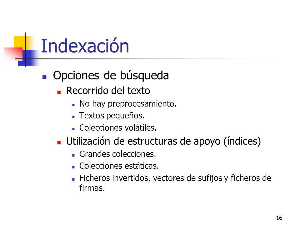 Indexación Opciones de búsqueda Recorrido del texto