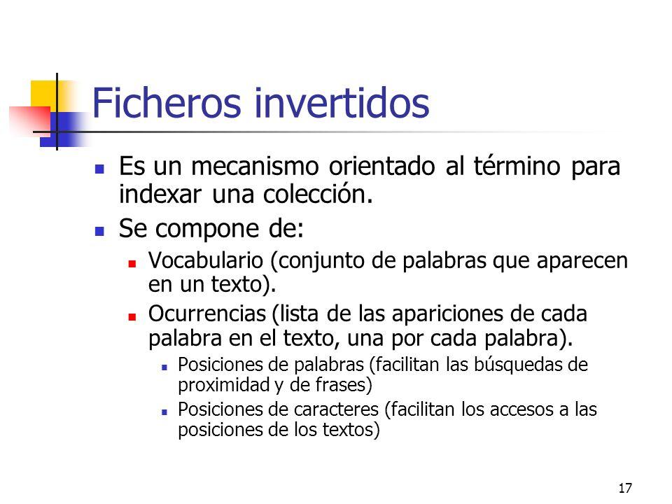 Ficheros invertidos Es un mecanismo orientado al término para indexar una colección. Se compone de: