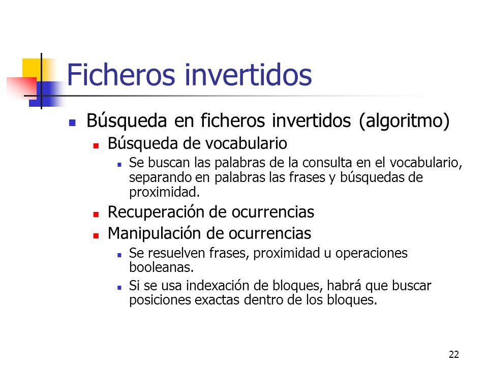 Ficheros invertidos Búsqueda en ficheros invertidos (algoritmo)