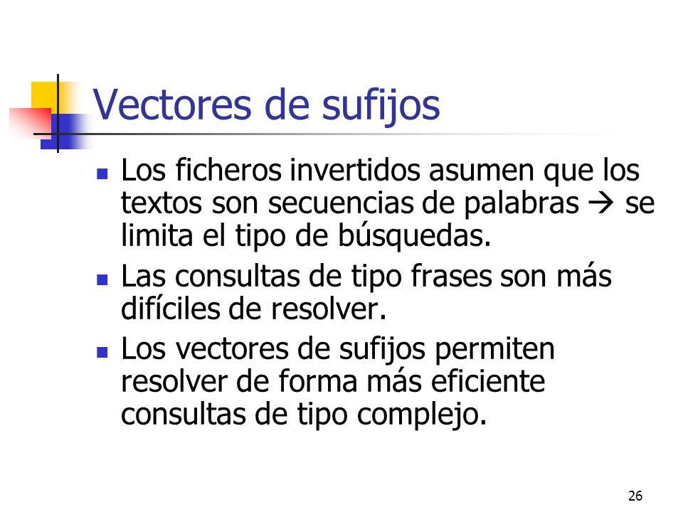 Vectores de sufijos Los ficheros invertidos asumen que los textos son secuencias de palabras  se limita el tipo de búsquedas.
