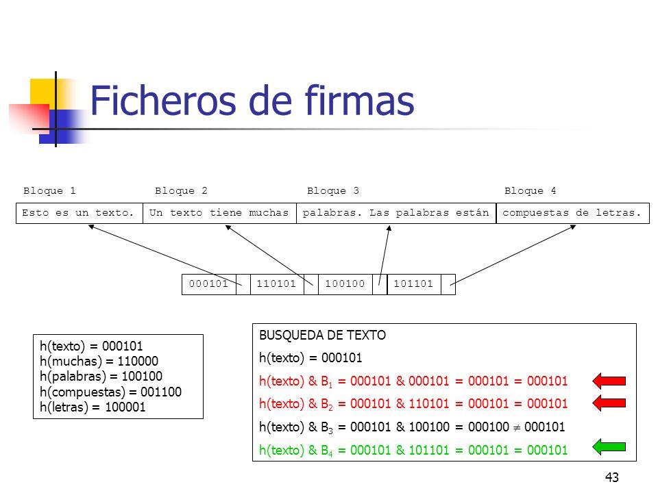 Ficheros de firmas BUSQUEDA DE TEXTO h(texto) = 000101