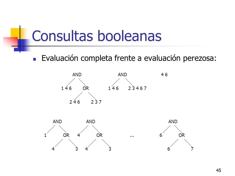 Consultas booleanas Evaluación completa frente a evaluación perezosa: