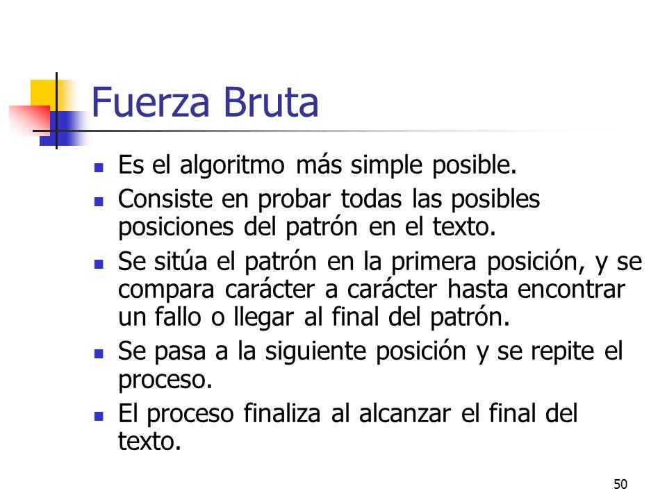 Fuerza Bruta Es el algoritmo más simple posible.