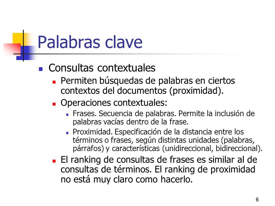 Palabras clave Consultas contextuales