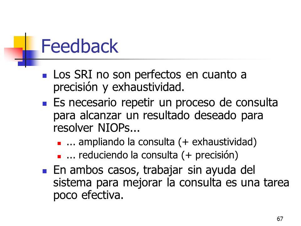 Feedback Los SRI no son perfectos en cuanto a precisión y exhaustividad.