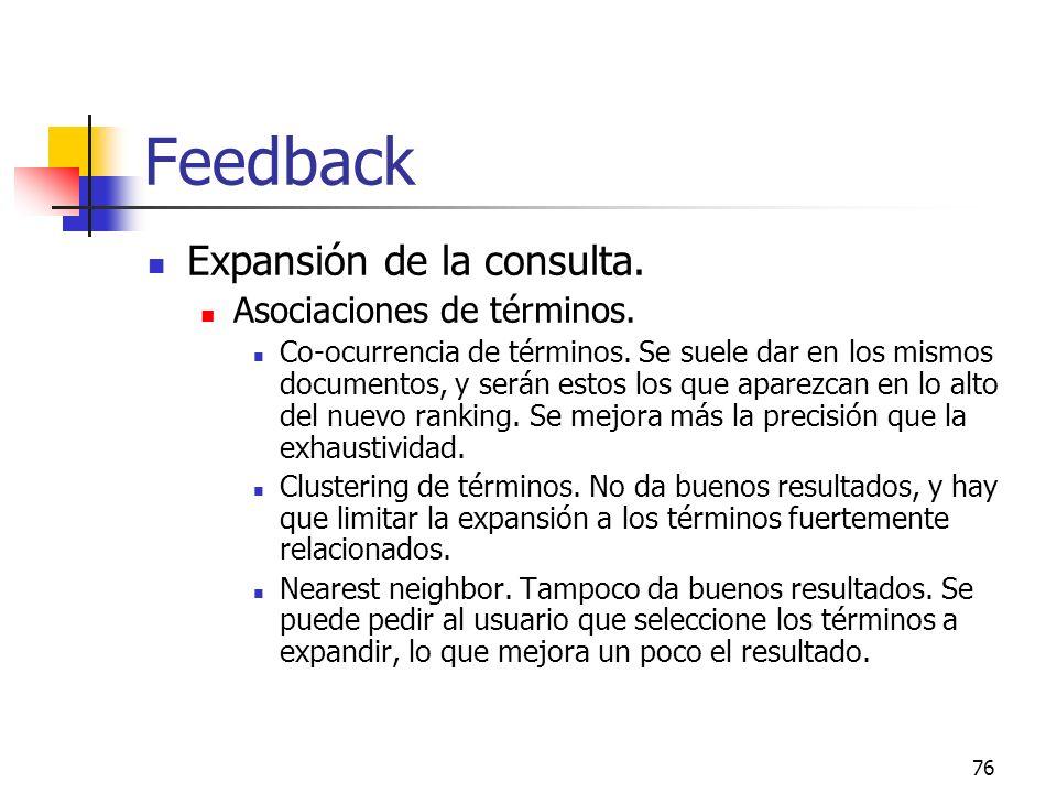 Feedback Expansión de la consulta. Asociaciones de términos.