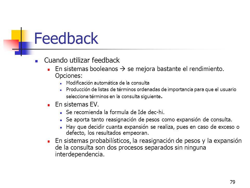 Feedback Cuando utilizar feedback