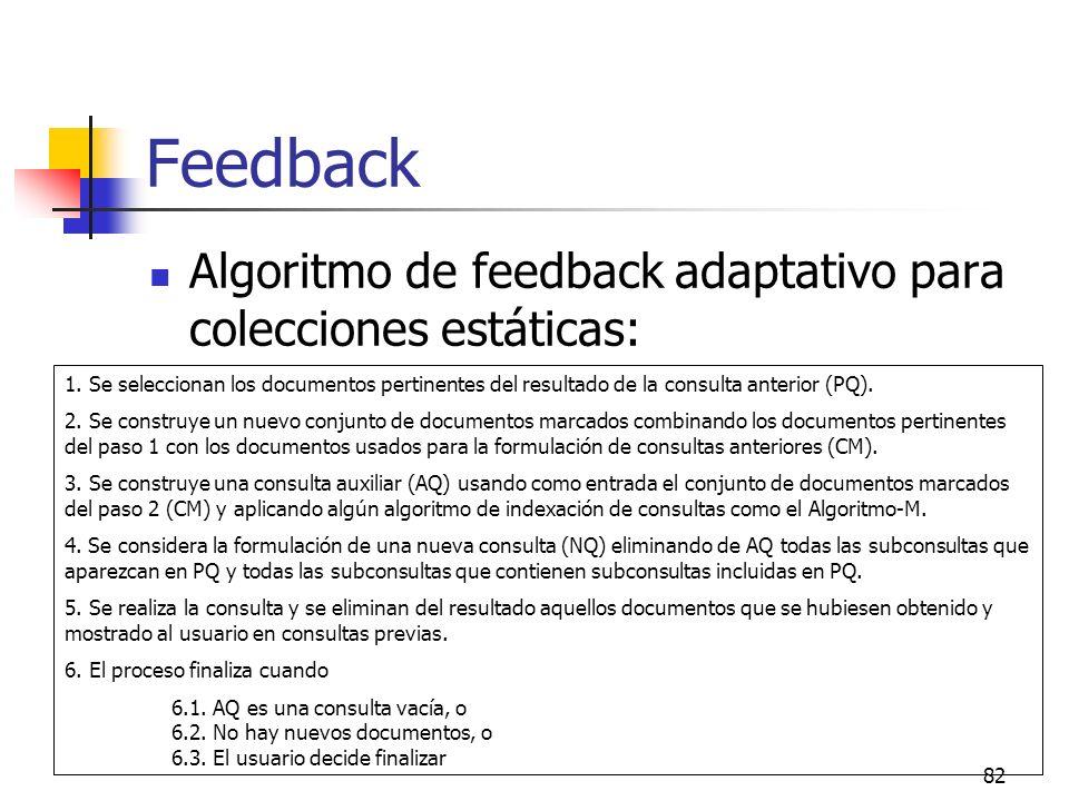 Feedback Algoritmo de feedback adaptativo para colecciones estáticas: