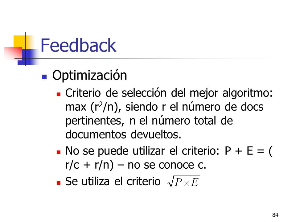 Feedback Optimización