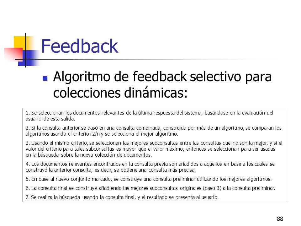 Feedback Algoritmo de feedback selectivo para colecciones dinámicas:
