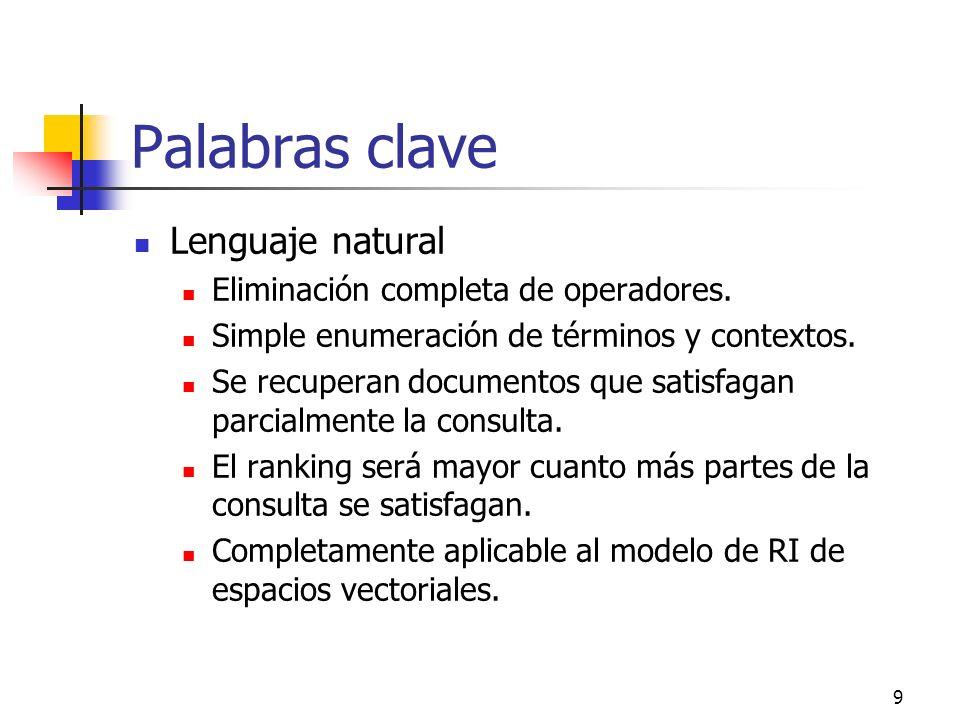 Palabras clave Lenguaje natural Eliminación completa de operadores.