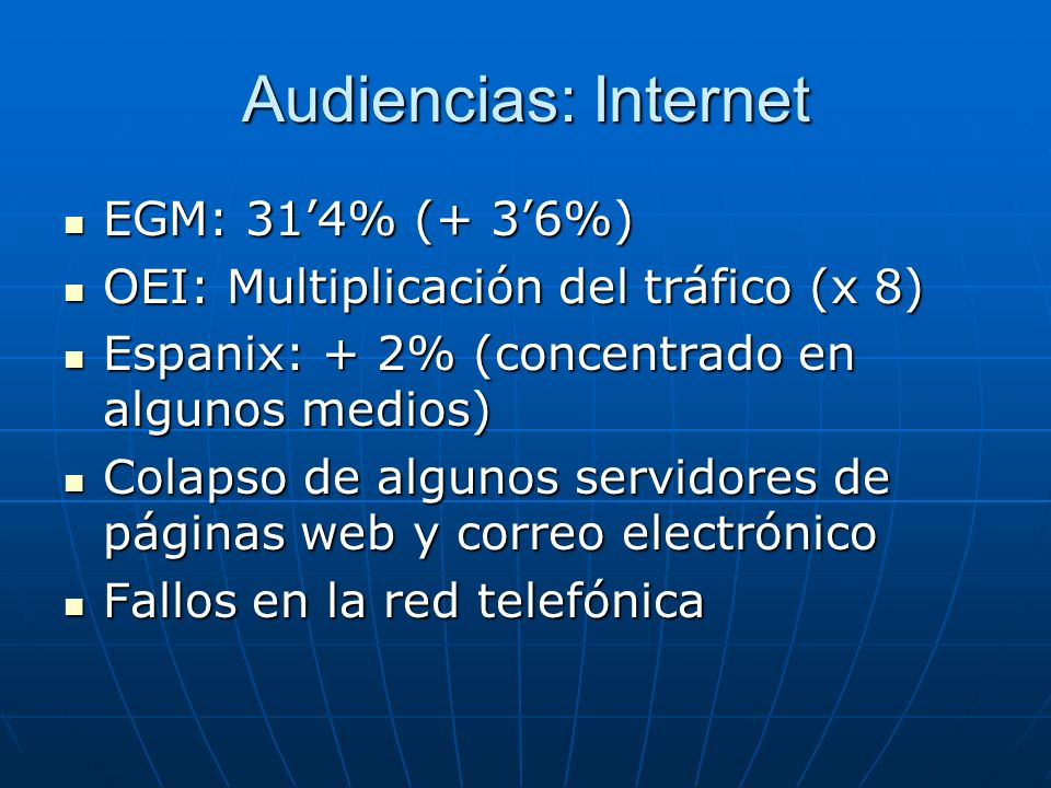 Audiencias: Internet EGM: 31'4% (+ 3'6%)