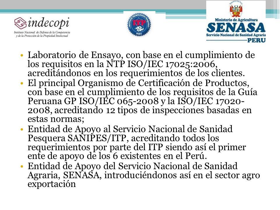 Laboratorio de Ensayo, con base en el cumplimiento de los requisitos en la NTP ISO/IEC 17025:2006, acreditándonos en los requerimientos de los clientes.