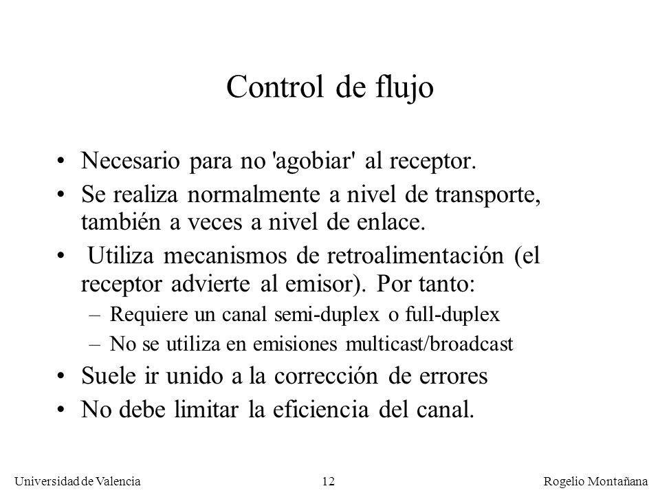 Control de flujo Necesario para no agobiar al receptor.