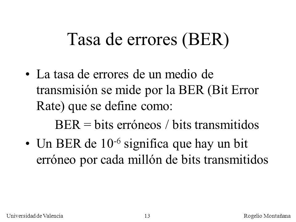 La Capa de Enlace Tasa de errores (BER) La tasa de errores de un medio de transmisión se mide por la BER (Bit Error Rate) que se define como: