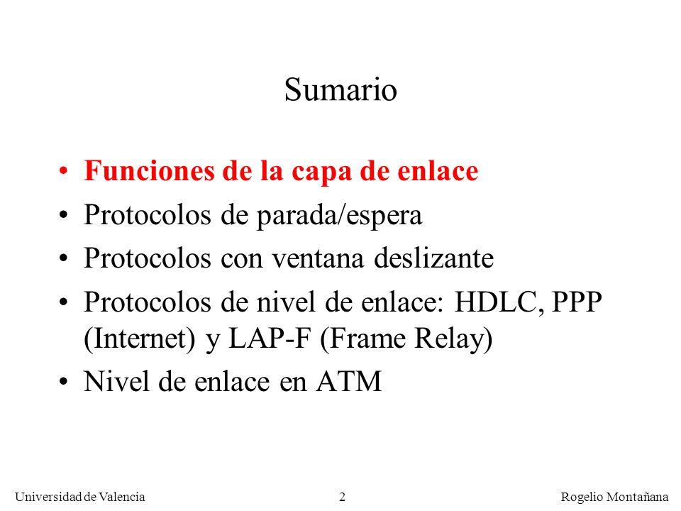 Sumario Funciones de la capa de enlace Protocolos de parada/espera