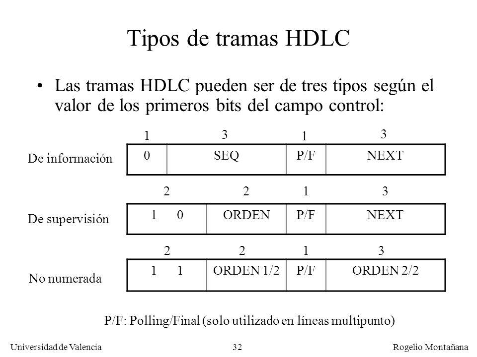 La Capa de Enlace Tipos de tramas HDLC. Las tramas HDLC pueden ser de tres tipos según el valor de los primeros bits del campo control:
