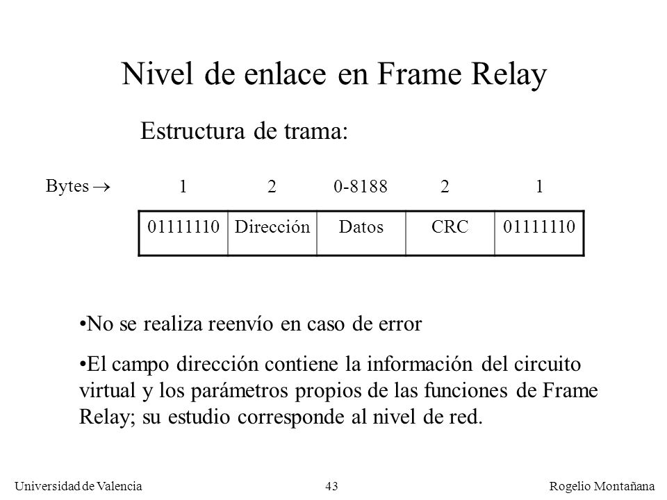 Nivel de enlace en Frame Relay