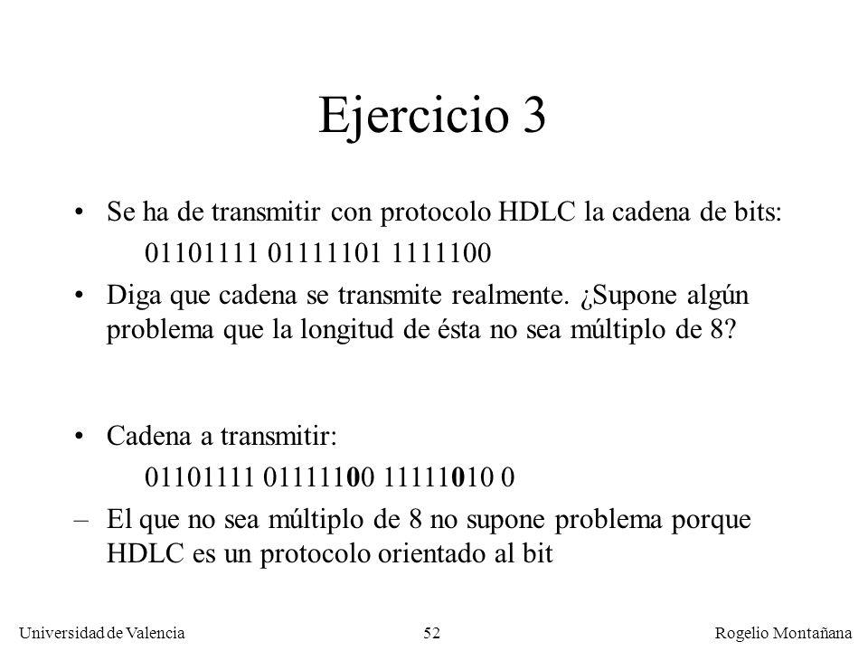 Ejercicio 3 Se ha de transmitir con protocolo HDLC la cadena de bits: