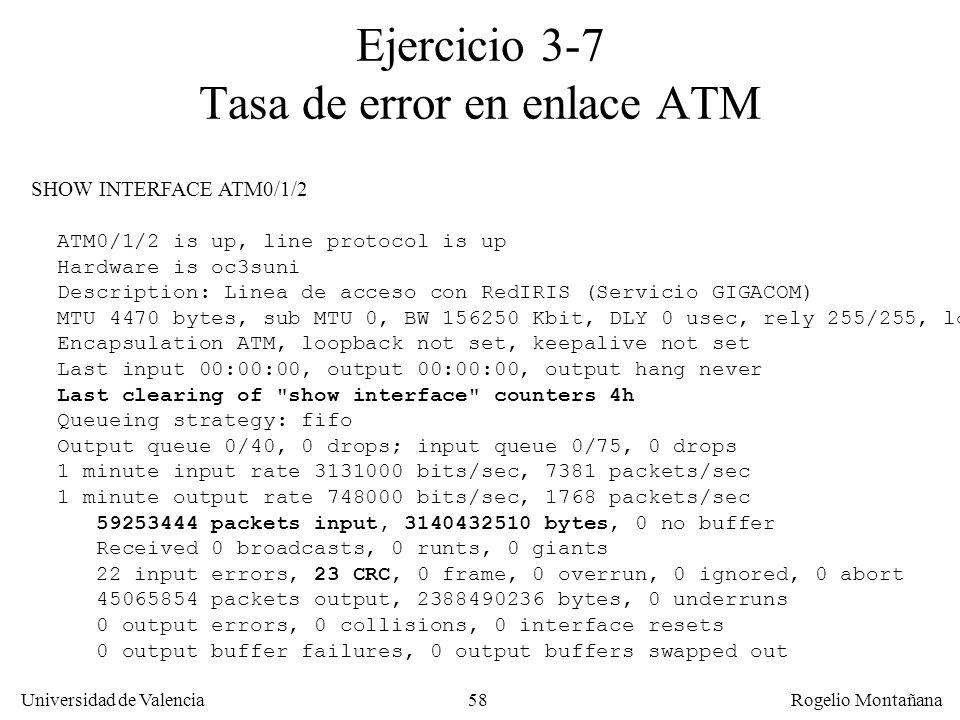 Ejercicio 3-7 Tasa de error en enlace ATM