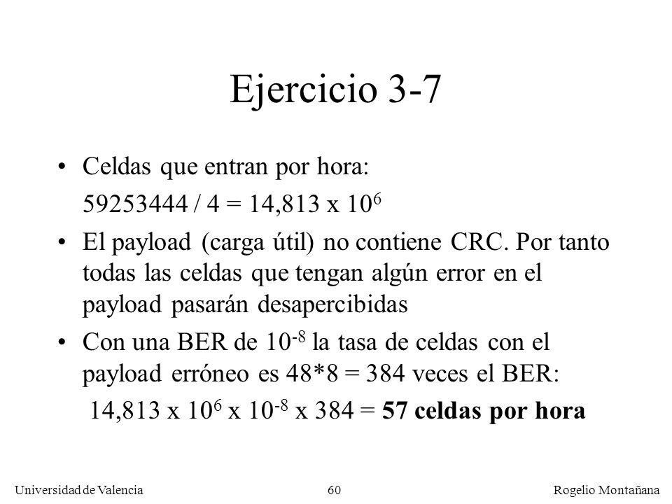 Ejercicio 3-7 Celdas que entran por hora: 59253444 / 4 = 14,813 x 106