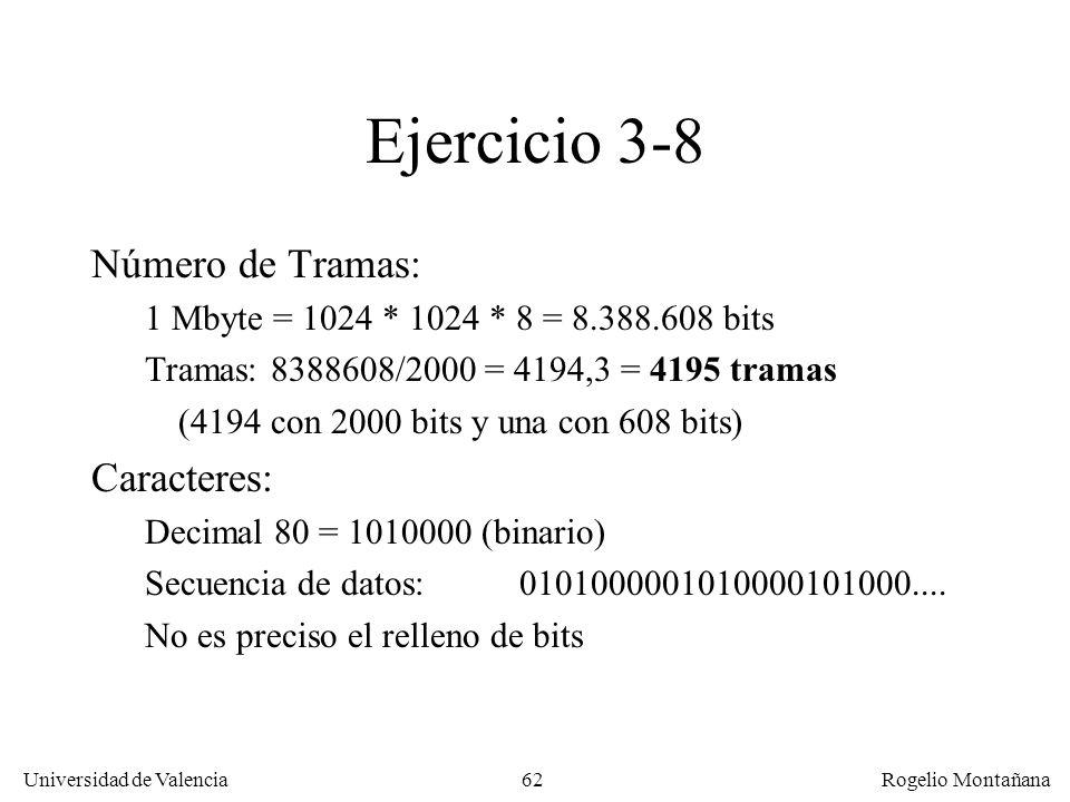 Ejercicio 3-8 Número de Tramas: Caracteres: