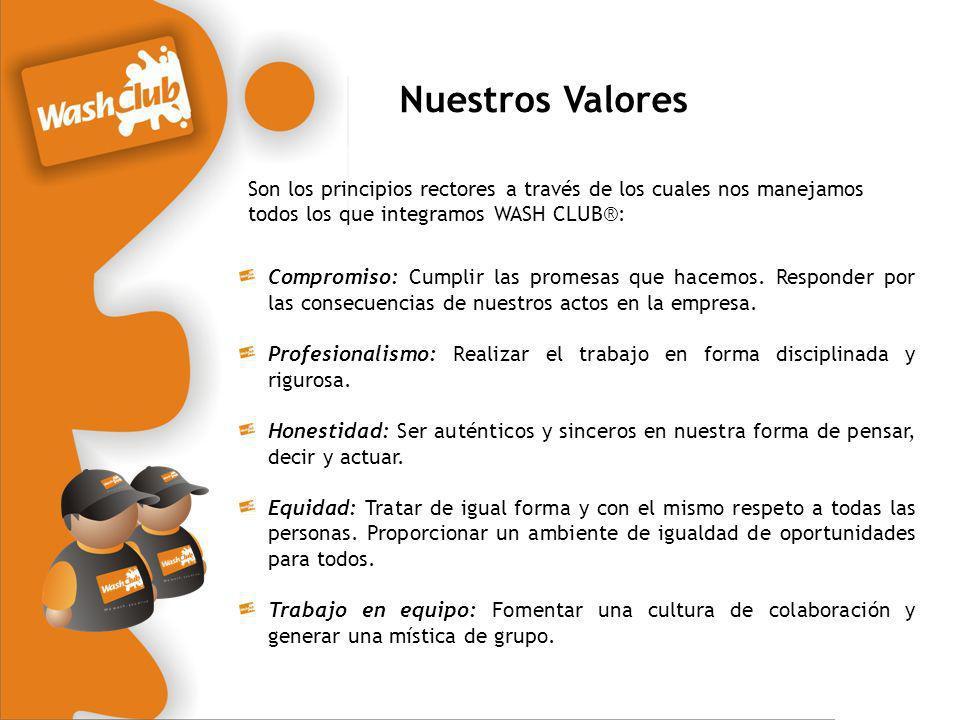 Nuestros Valores Son los principios rectores a través de los cuales nos manejamos todos los que integramos WASH CLUB®: