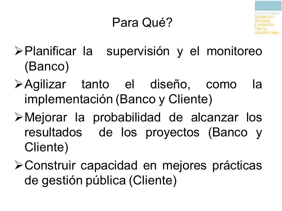 Para Qué Planificar la supervisión y el monitoreo (Banco) Agilizar tanto el diseño, como la implementación (Banco y Cliente)