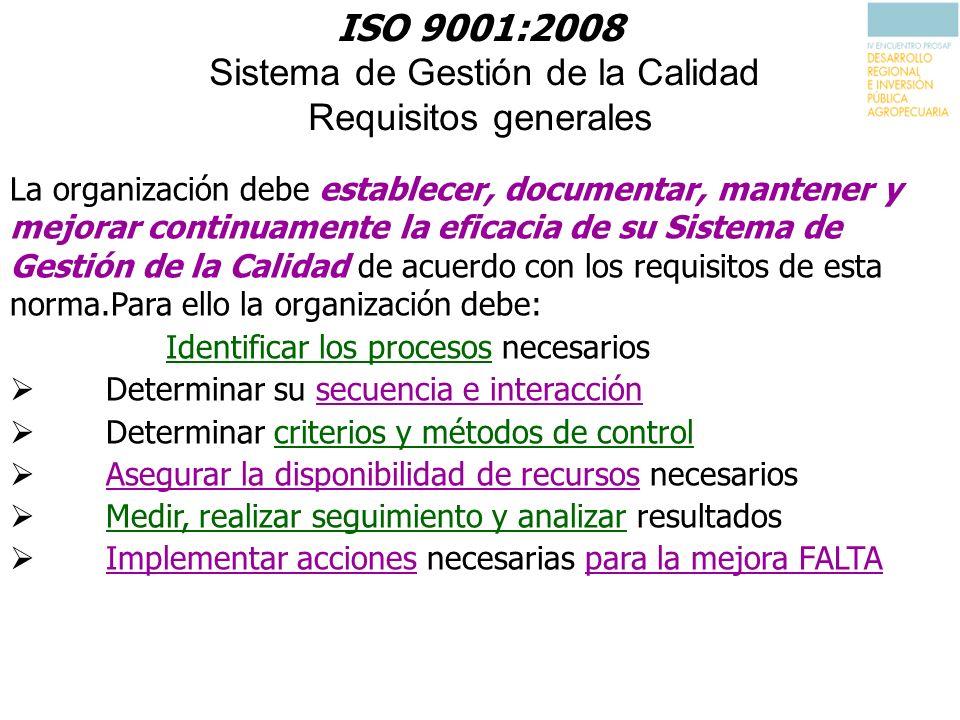 ISO 9001:2008 Sistema de Gestión de la Calidad Requisitos generales