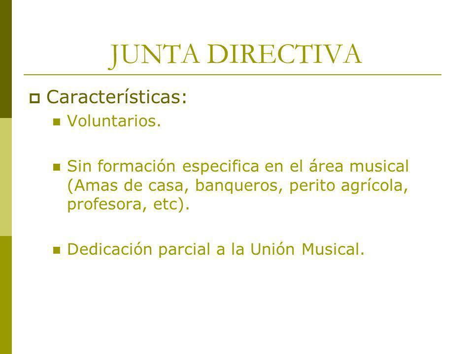 JUNTA DIRECTIVA Características: Voluntarios.
