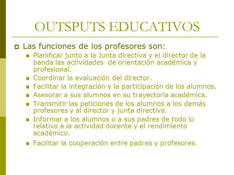 OUTSPUTS EDUCATIVOS Las funciones de los profesores son: