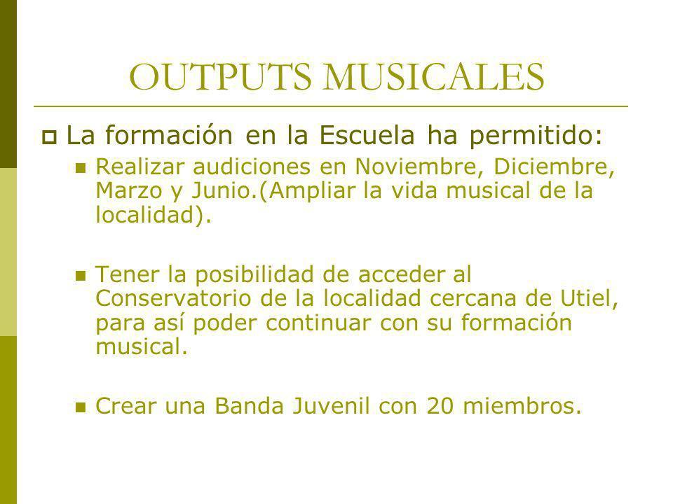 OUTPUTS MUSICALES La formación en la Escuela ha permitido: