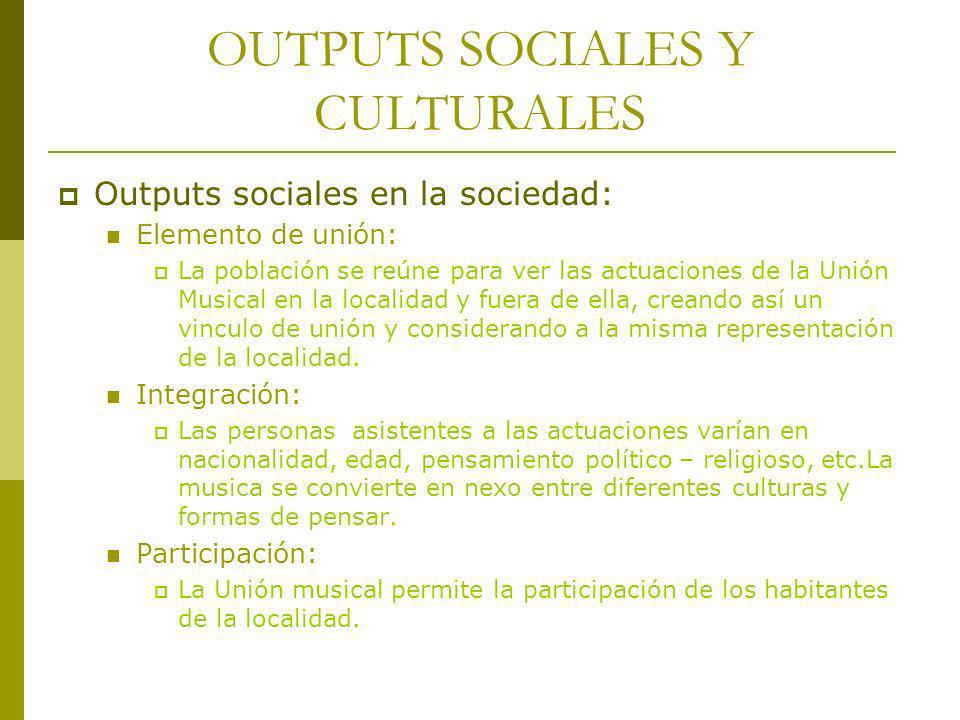 OUTPUTS SOCIALES Y CULTURALES